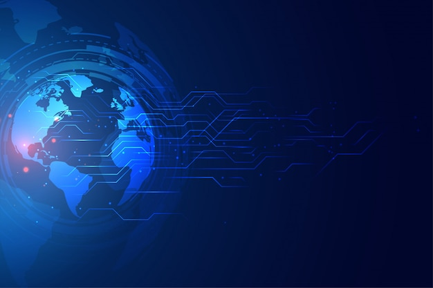 Digital global technology banner with circuit diagram