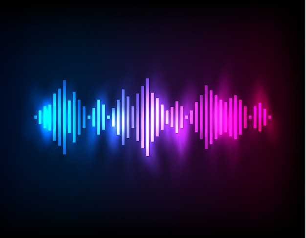 Digital glowing colorful equalizer Premium Vector