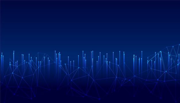 Linee di tecnologia digitale incandescente con rete metallica metwork Vettore gratuito