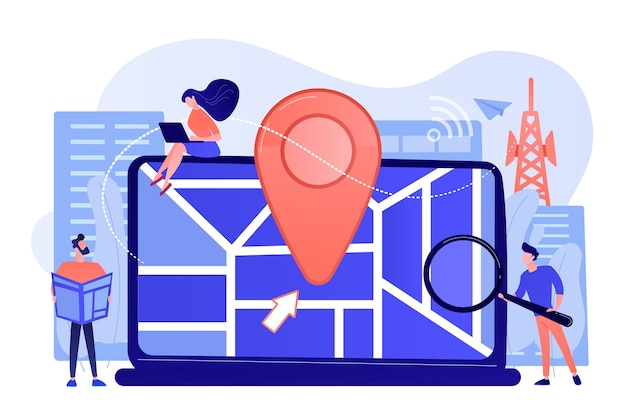 Приложение digital gps для смартфонов. знак geotag на карте города Бесплатные векторы