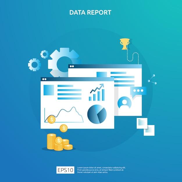 Seo分析と戦略のためのデジタルグラフデータ。統計情報、財務監査報告書、経営管理概念のマーケティング調査。 Premiumベクター