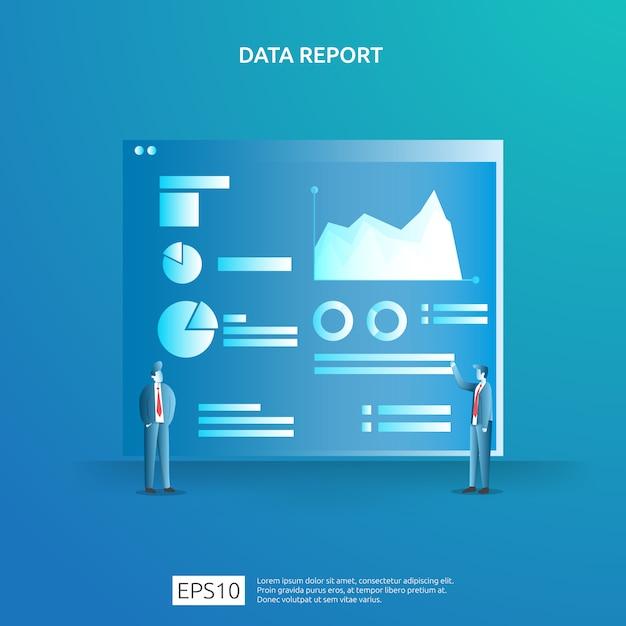 Seo分析用のデジタルグラフデータと特性を備えた戦略。統計情報、財務監査報告書、経営管理概念のマーケティング調査。 Premiumベクター