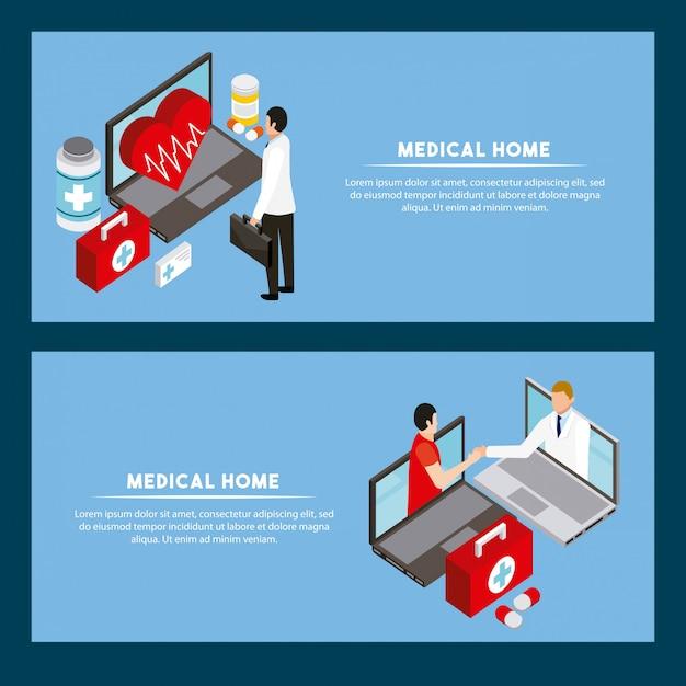 Шаблон баннера цифровой концепции здоровья Бесплатные векторы