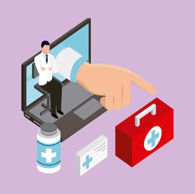 デジタルヘルスのコンセプト 無料ベクター