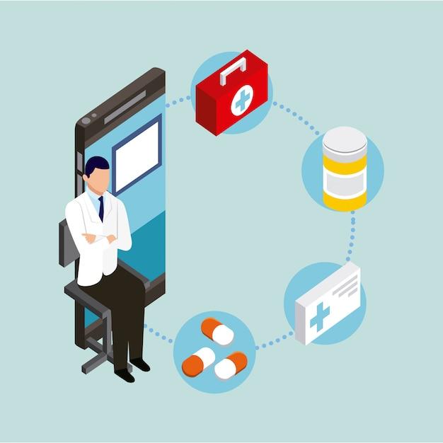 Концепция цифрового здоровья Бесплатные векторы