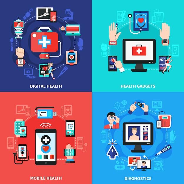 Digital health gadgets composition set Free Vector