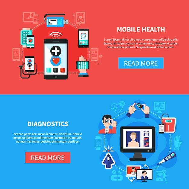 Digital health gadgets flat banners Free Vector