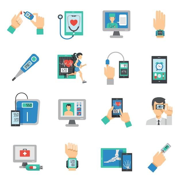 Digital health icons flat set Free Vector