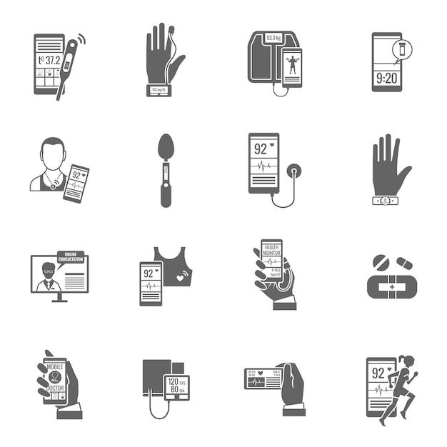 Digital health icons set Premium Vector