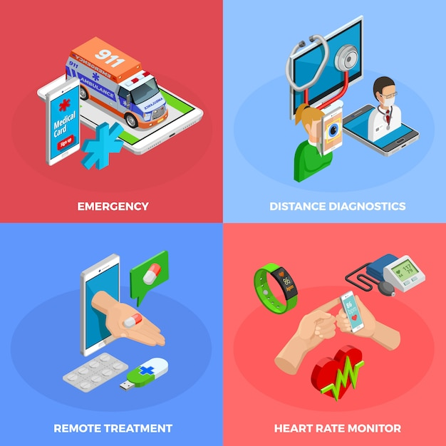 Digital health isometric concept Free Vector