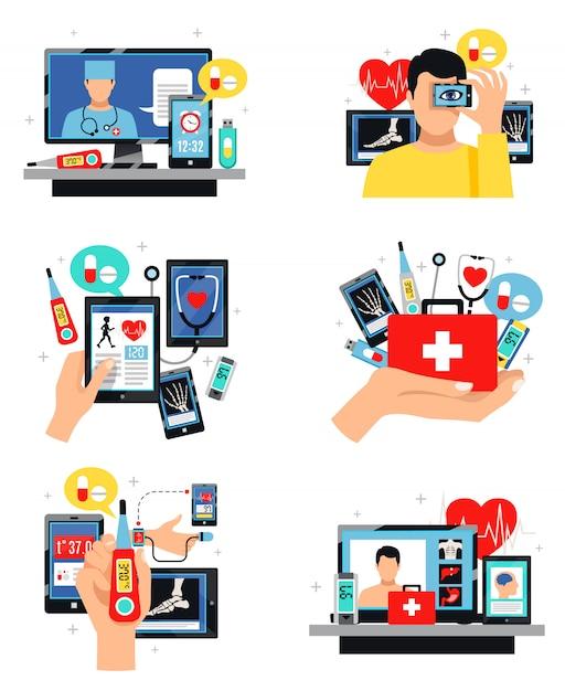 Digital health symbols compositions set Free Vector