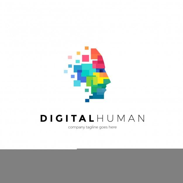 Digital human logo template Premium Vector