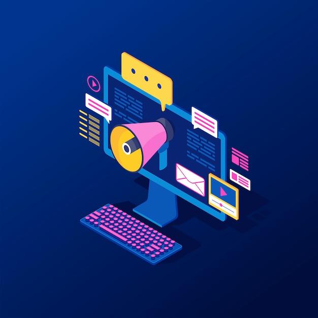 Digital, inbound marketing isometric vector illustration Premium Vector