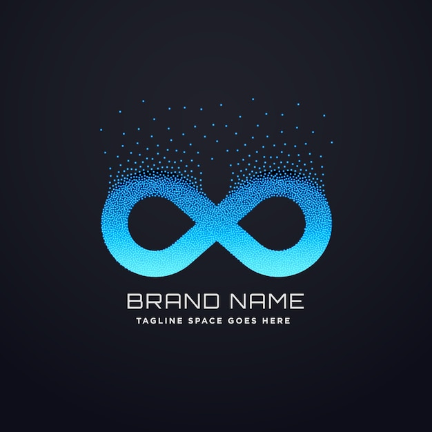 Digital Infinity Logo Design With Floating Particles