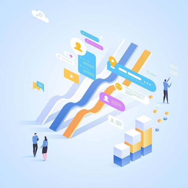 디지털 투자. 온라인 통계. 방문 페이지, 웹 디자인, 배너 및 프리젠 테이션을위한 아이소 메트릭 그림. 프리미엄 벡터