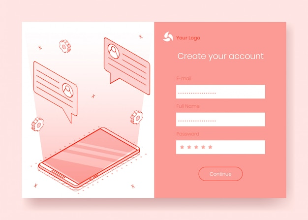 Digital isometric design concept set Premium Vector