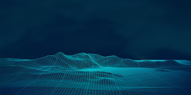 Digital landscape with techno wireframe design Free Vector