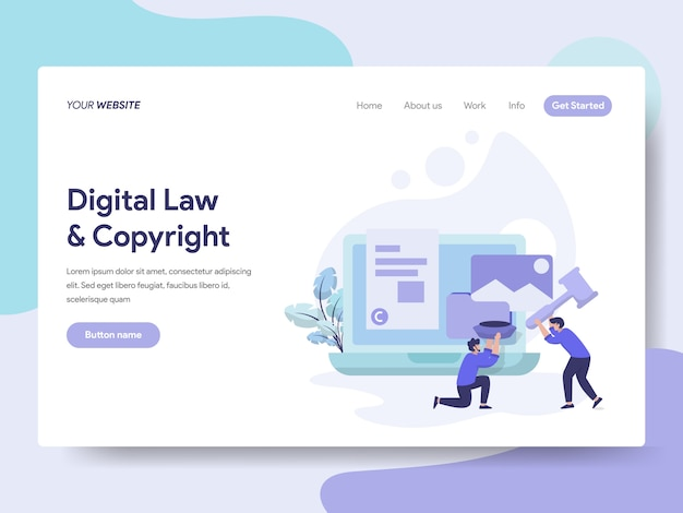 Digital law and copyright illustration Premium Vector