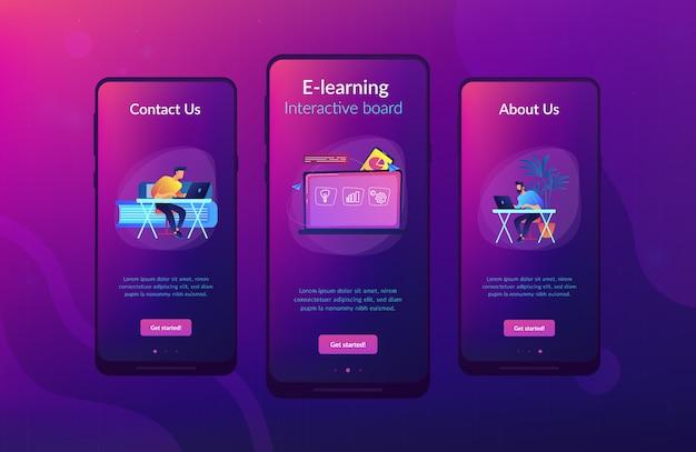 デジタル学習アプリのインターフェイステンプレート。 Premiumベクター