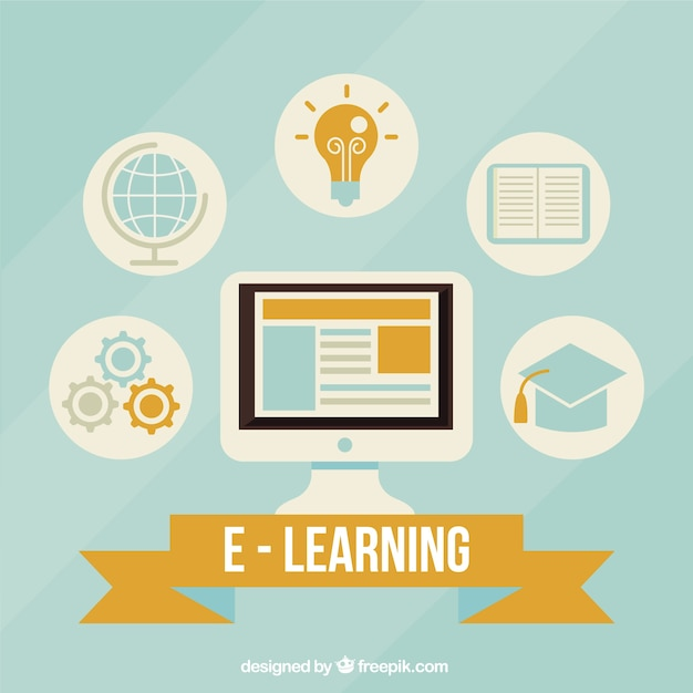 Digital learning background with computer and icons in flat design Free Vector