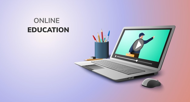 Digital learning with video online for education concept and blank space on laptop Premium Vector