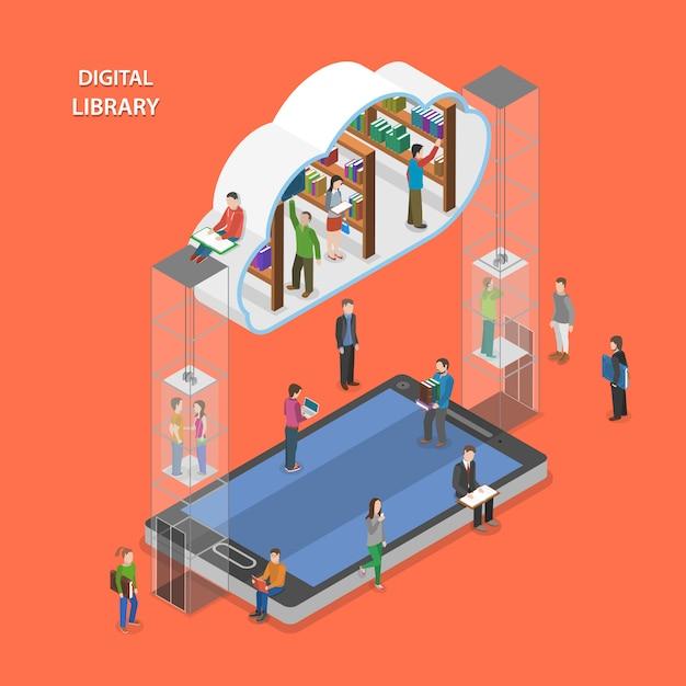 Digital library flat isometric concept. Premium Vector