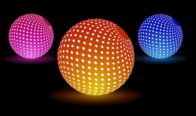 Digital light balls Premium Vector