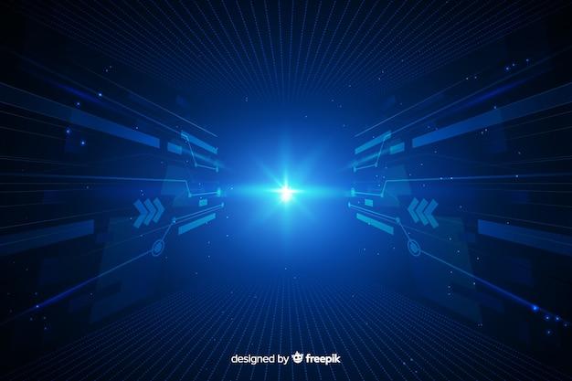 Digital light tunnel with dark background Free Vector