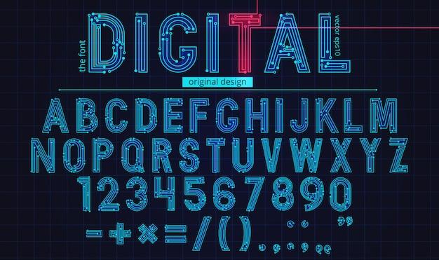 Digital linear alphabet template Premium Vector