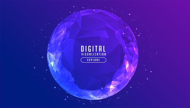 Digital low poly circular sphere technology concept background Free Vector