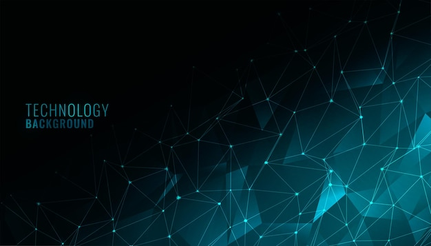 Цифровой низкополигональный технологический фон с сетевой сеткой Бесплатные векторы