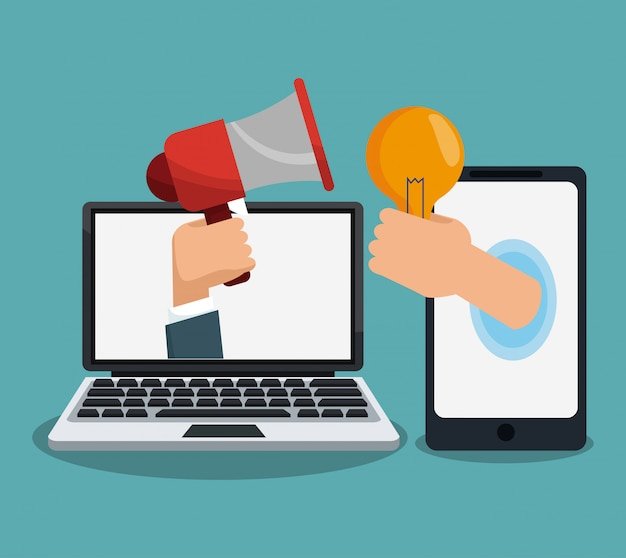 Digital marketing and advertising cartoon concept Premium Vector