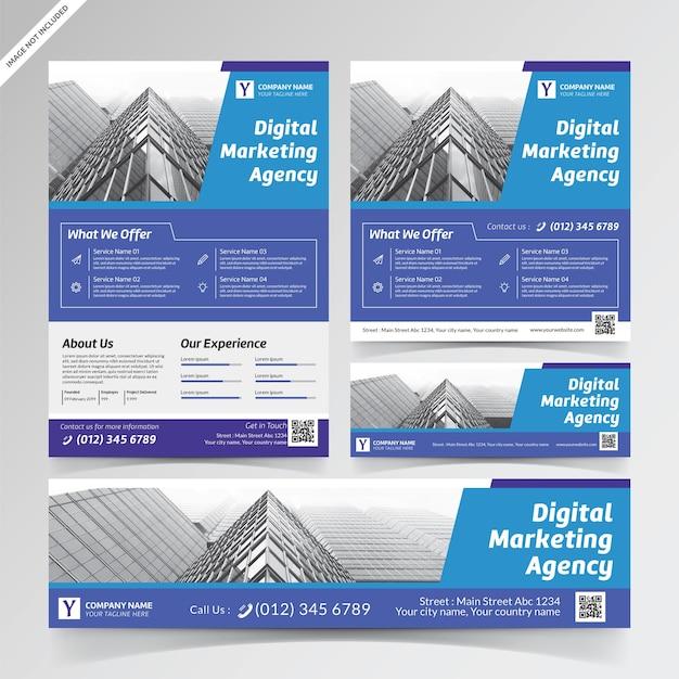Premium Vector | Digital marketing agency flyer, social ...