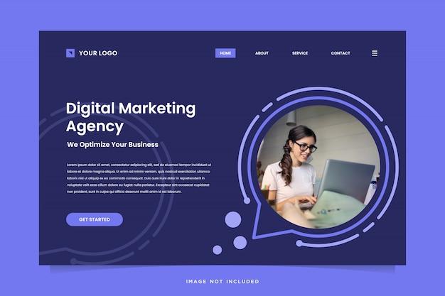 Digital marketing agency landing page template Premium Vector