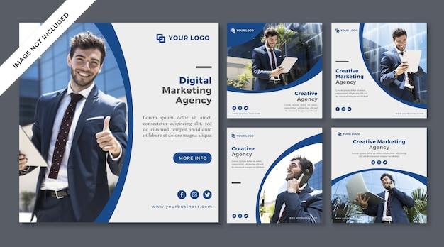 デジタルマーケティングエージェンシーソーシャルメディアポスト Premiumベクター