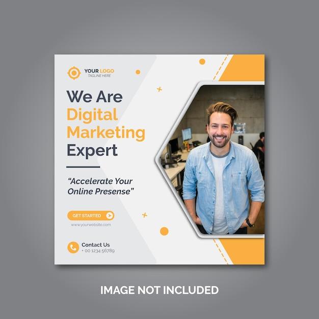 Веб-баннер или квадратный флаер агентства цифрового маркетинга Premium векторы