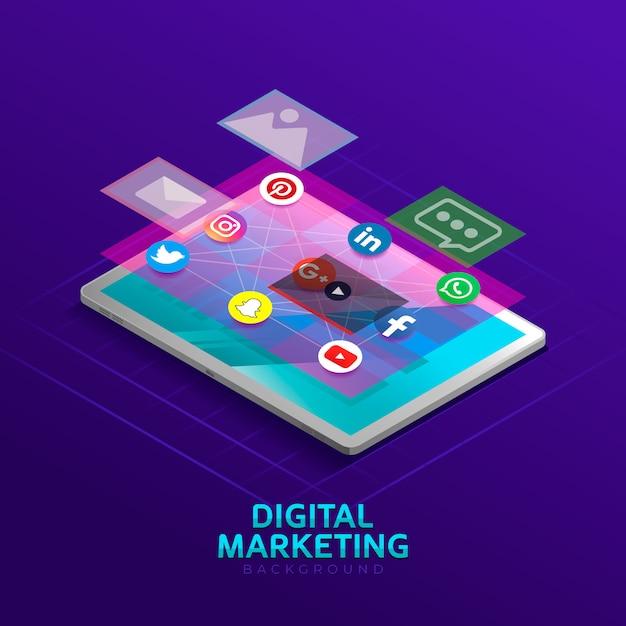 Digital marketing background in isometric style | Premium ...