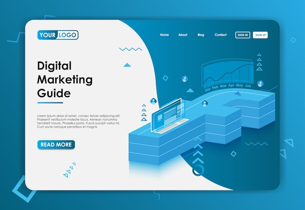 Digital marketing background for website landing page Premium Vector