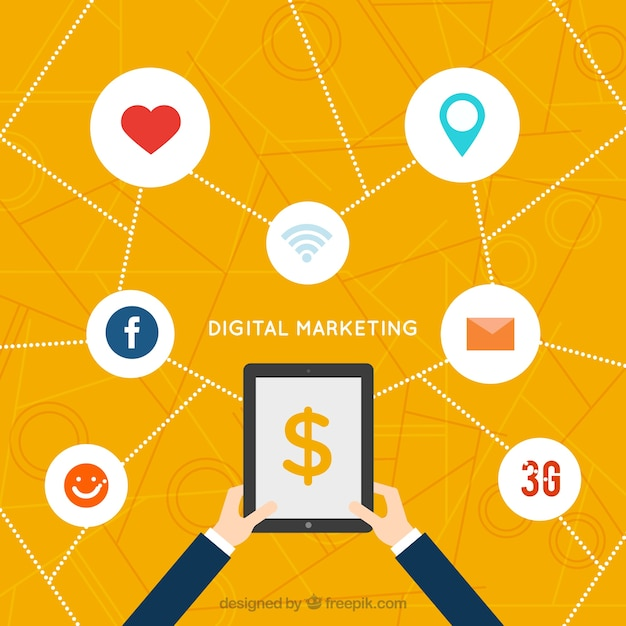Digital marketing background with icons and white circles ...