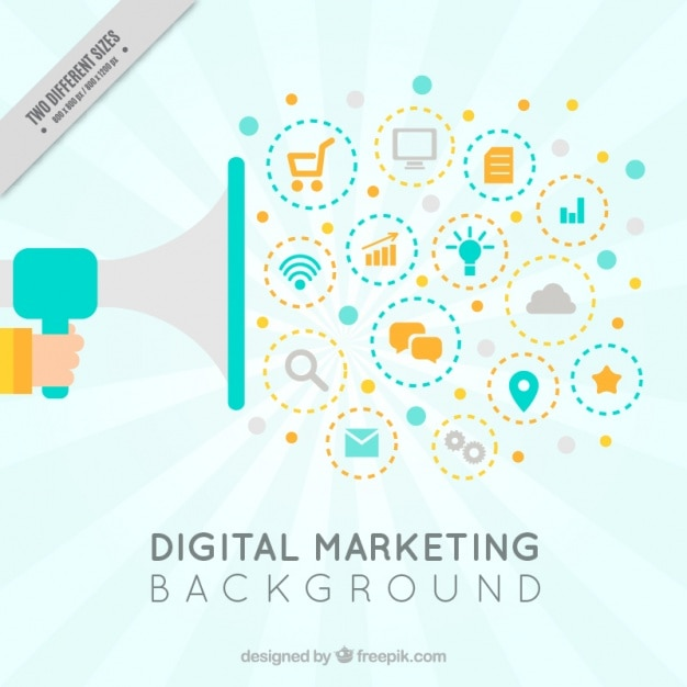Free Vector | Digital marketing background with megaphone