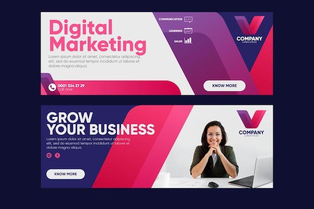 Дизайн баннеров для цифрового маркетинга Premium векторы