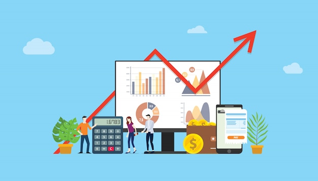 Digital marketing budget financial campaign Premium Vector