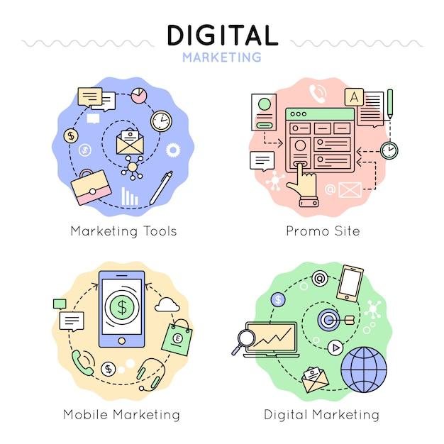 Цифровой маркетинг цветной набор иконок Бесплатные векторы