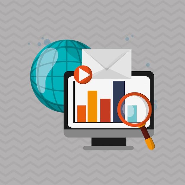 Digital marketing computer icon. multimedia concept ...