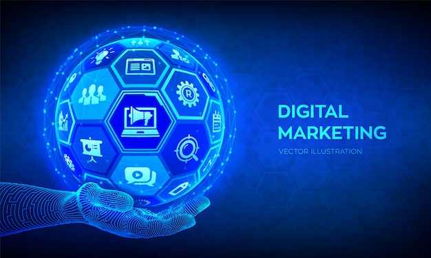 Digital marketing concept. abstract 3d sphere or globe with surface of hexagons in robotic hand. Premium Vector