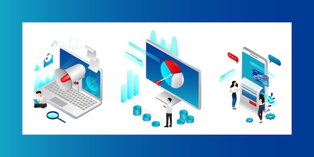 Digital marketing concept. characters searching trends, strategies and product promotion possibilities. men and women meet business goals in social media advertising. Premium Vector