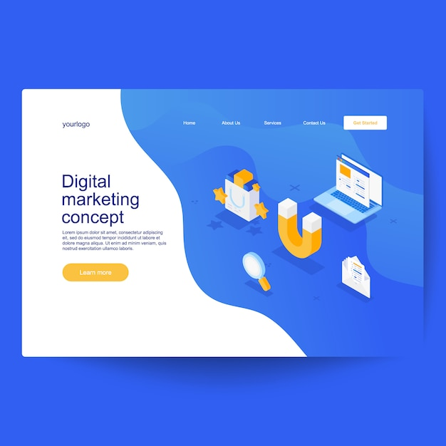 Digital marketing concept. development and software. computer code with windows on laptop screen Premium Vector