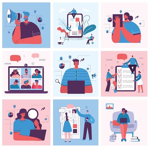 Digital marketing concept illustration Premium Vector
