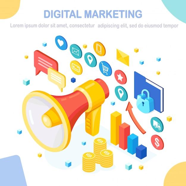 Digital marketing concept.  isometric megaphone, loudspeaker, bullhorn with money, graph, folder, sp