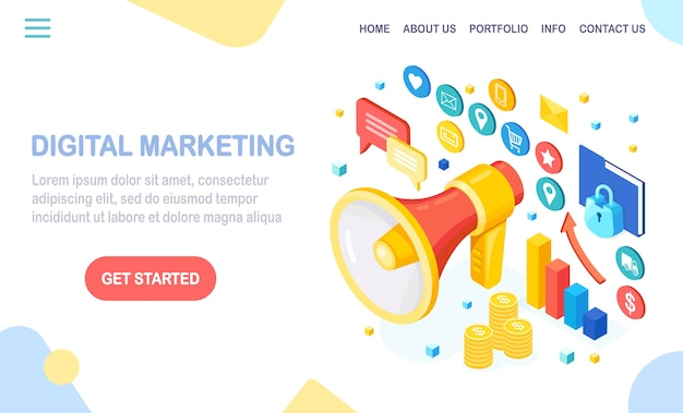 Digital marketing concept.  isometric megaphone, loudspeaker, bullhorn with money, graph, folder, speech bubble. business development strategy advertising. social media analysis. Premium Vector